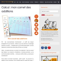 Calcul : mon carnet des additions
