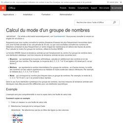 Calcul du mode d'un groupe de nombres - Excel