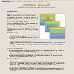 Calcul mental / Présentation
