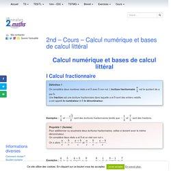 2nd - Cours - Calcul numérique et bases de calcul littéral
