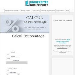 Calcul Pourcentage - Outil en ligne pour calculer un pourcentage / universités-numériques