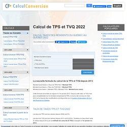 Calcul taxes TPS et TVQ 2014