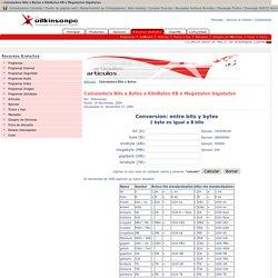Calculadora Bits a Bytes a KiloBytes KB a Megabytes Gigabytes - Wilkinsonpc