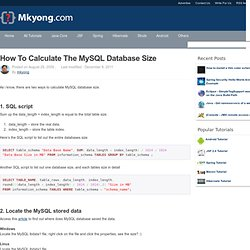 How to calculate the MySQL database size