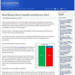 Bank Balance Sheet: Liquidity and Solvency, Par