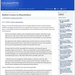 Buffett's Letter to Shareholders