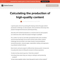 Calculating the production of high-quality content - GatherContent: A blog about content strategy and development