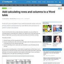 Add calculating rows and columns to a Word table