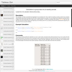 Tableau Zen: Calculation to group data into bi-weekly periods