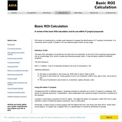 Basic ROI Calculation Within IT Project Proposals