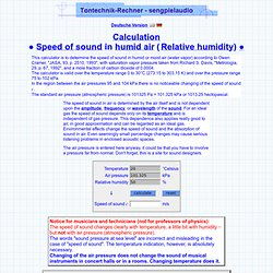 Calculation speed of sound in humid air and the air pressure humidity moit air density of water - sengpielaudio