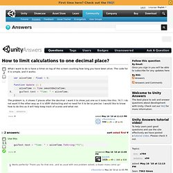 How to limit calculations to one decimal place?