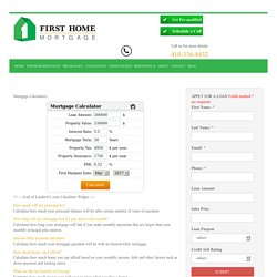 Maryland Mortgage Calculator for Principal, Amortization & More