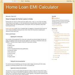 Home Loan EMI Calculator: How to Apply for Home Loans in India