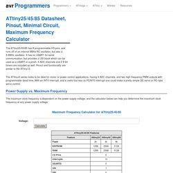 ATtiny25/45/85 Datasheet, Pinout, Minimal Circuit, Maximum Frequency Calculator