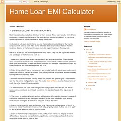 Home Loan EMI Calculator: 7 Benefits of Loan for Home Owners