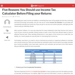 Five Reasons You Should use Income Tax Calculator Before Filing your Returns