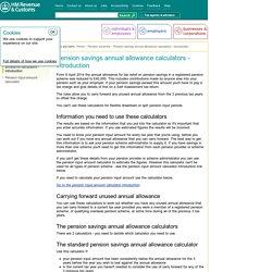Pension savings annual allowance calculator - introduction