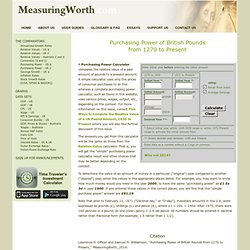 Measuring Worth - Measures of worth, inflation rates, saving calculator, relative value, worth of a dollar, worth of a pound, purchasing power, gold prices, GDP, history of wages, average wage