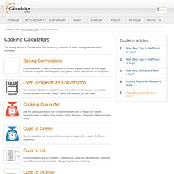 Cooking Calculators and Converters - The Calculator Site