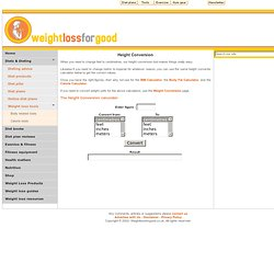 Height Conversion & height converter calculators : weightlossforgood.co.uk