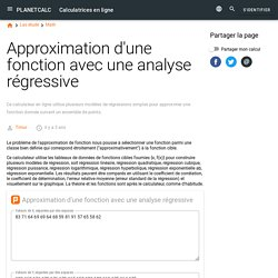 Calculatrice en ligne: Approximation d'une fonction avec une analyse régressive