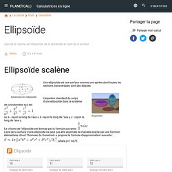 Calculatrice en ligne: Ellipsoïde