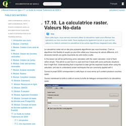 17.10. La calculatrice raster. Valeurs No-data