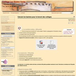 Calcule ton barème pour le brevet des collèges - Collège Les Quatre Vents