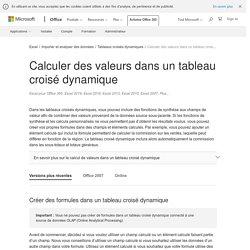 Calculer des valeurs dans un tableau croisé dynamique