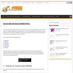 Calculs dans une base de données MySQL