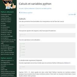 Calculs et variables python