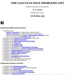 THE CALCULUS PAGE PROBLEMS LIST