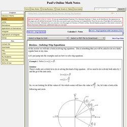 Review : Solving Trig Equations