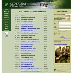 Calendar of Courses and Events at Alderleaf