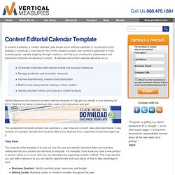 Content Calendar - Editorial Planning for Content Marketing by Vertical Measures