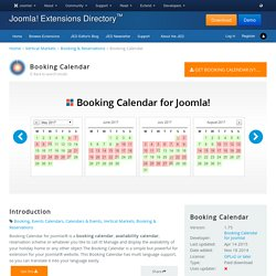 Booking Calendar - Joomla! Extension Directory