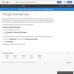Calendar Labs - Google Apps Help