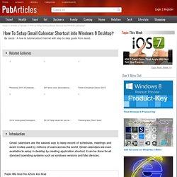 How To Setup Gmail Calendar Shortcut into Windows 8 Desktop?
