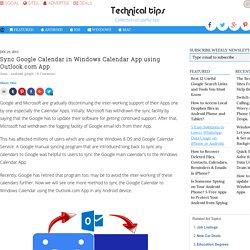 Sync Google Calendar in Windows Calendar App using Outlook.com App