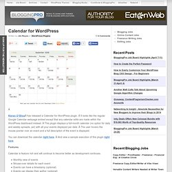Calendar for WordPress | Blogging Pro