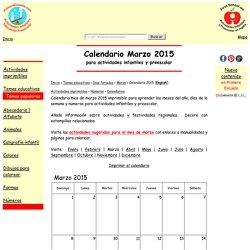 Calendario Marzo 2015 Imprimible para Actividades Infantiles y Preescolar