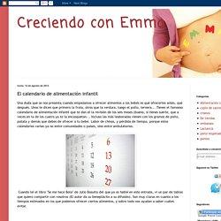 Creciendo con Emma: El calendario de alimentación infantil