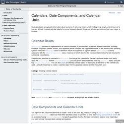 Calendars, Date Components, and Calendar Units
