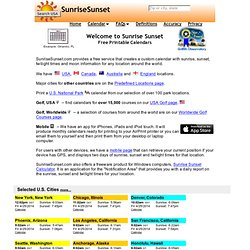 Sunrise Sunset Calendars - Worldwide Locations