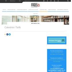 Calendrier / Tarifs - Institut d'Enseignement à Distance - Université Paris 8