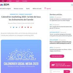 Calendrier marketing 2020 : la liste de tous les événements de l'année