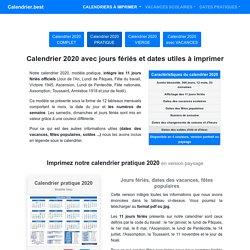 Calendrier 2020 avec jours fériés et dates utiles à imprimer -Calendrier.best
