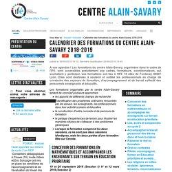 Calendrier des formations du centre Alain-Savary 2018-2019