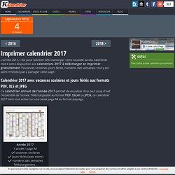 Imprimer calendrier 2017 gratuitement - PDF, XLS et JPG